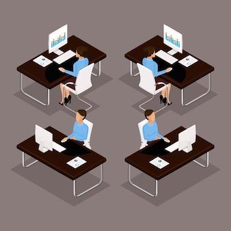 Trendów izometryczni ludzie ustawiają, 3d biznesowa dama pracuje przy biurkiem na laptopu widoku z przodu, widok z tyłu, stylowa fryzura, pracownik biurowy mężczyzna w garniturze na białym tle. ilustracje wektorowe