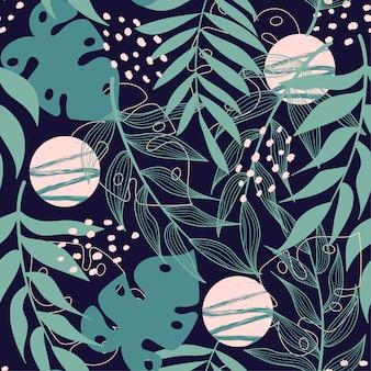 Trendu abstrakcjonistyczny bezszwowy wzór z tropikalnymi liśćmi