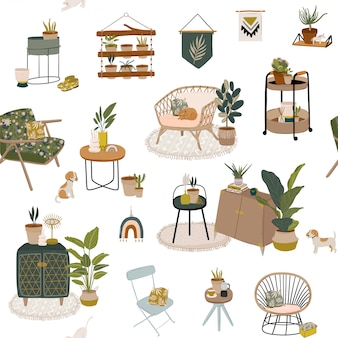 Trendy scandinavian urban home jungle interior wzór z dekoracjami do domu. przytulny domowy ogród urządzony w stylu hygge.