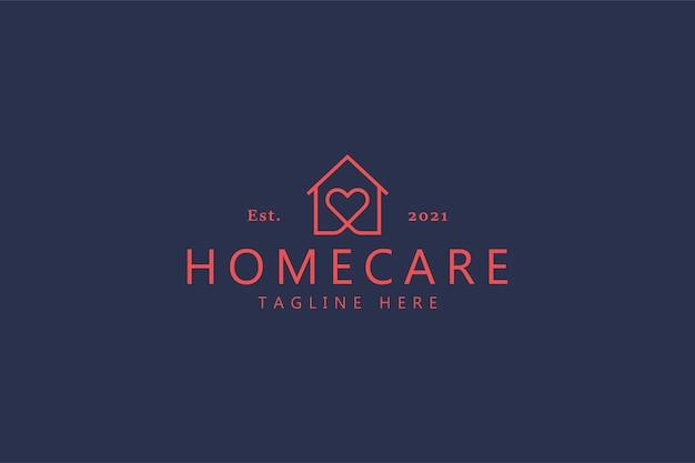 Trendy w logo opieki domowej love heart. ubezpieczenie domu