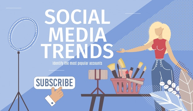 Trendy w mediach społecznościowych płaska wektorowa strona docelowa