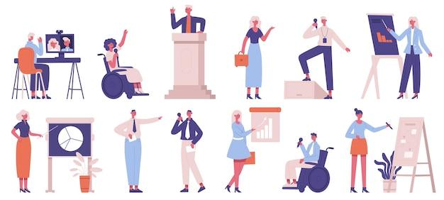 Trener biznesu. coaching biznesowy korporacyjny, szkolenie, konferencja lub seminarium, zestaw ilustracji głośników pracy zespołowej