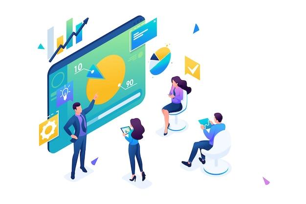 Trener biznesu szkoli pracowników firmy. szkolenie koncepcyjne w pracy, rozwój zawodowy. izometryczny 3d. koncepcja projektowania stron internetowych.