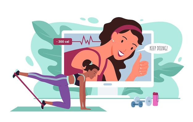 Trener fitness online, ilustracja wektorowa treningu sportowego. postać z kreskówki aktywnej młodej kobiety sportowej w treningu sportowym ze sprzętem sportowym za pośrednictwem internetowego połączenia wideo do tła trenera.