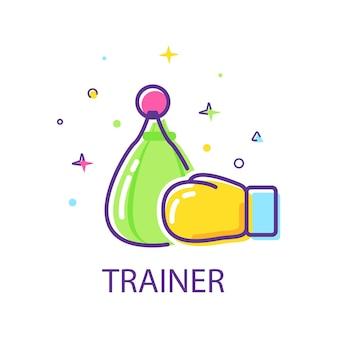 Trener i sprzętpłaska konstrukcja ikona ilustracja wektorowa