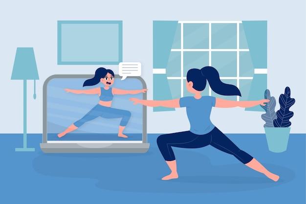 Trener online i klient robi cardio