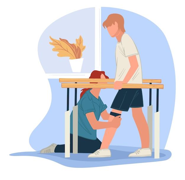 Trener pomagający osobie podczas rehabilitacji. proces masażu leczniczego dla osób z problemami domowymi. zdrowy tryb życia i kontrola po wypadku lub urazie, uśmierzanie bólu. wektor w stylu płaskiej