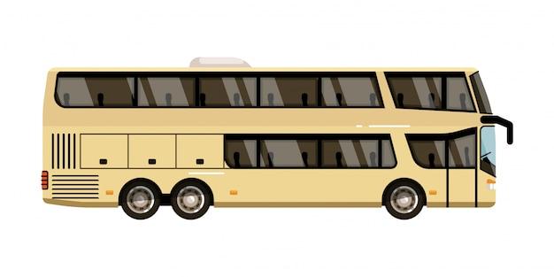 Trener turystyczny. dwupiętrowy autokar turystyczny ikona izolować na białym tle. ilustracja pojazdu miejskiego autobusu pasażerskiego