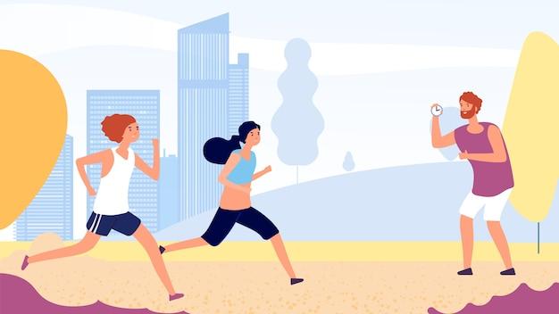 Trening biegowy. kobieta działa koncepcja konkurencji. płaskie kobiety biegają w parku, trener ze stoperem. ilustracja jogging w parku, ludzie sport ilustracja biegacz