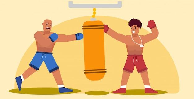 Trening boksera w płaskiej konstrukcji