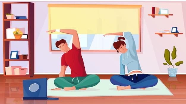 Trening fit online płaska kompozycja z siedzącymi ludźmi ćwiczącymi jogę w domu, patrzącymi na ilustrację kursu na laptopie