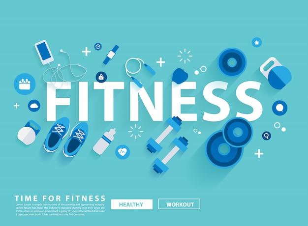 Trening fitness koncepcja ze sprzętem. ilustracji wektorowych