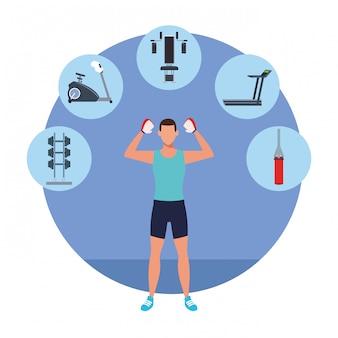 Trening fitness kreskówka mężczyzna