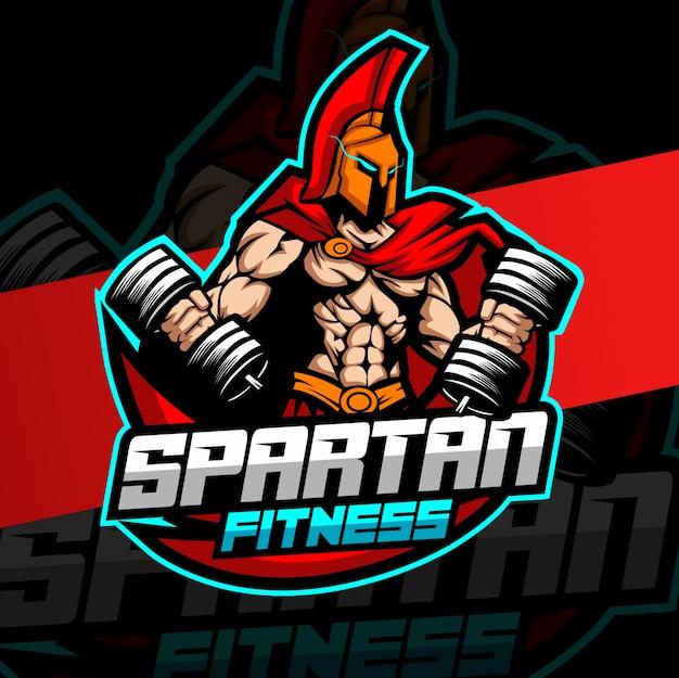 Trening fitness logo spartańskiej maskotki