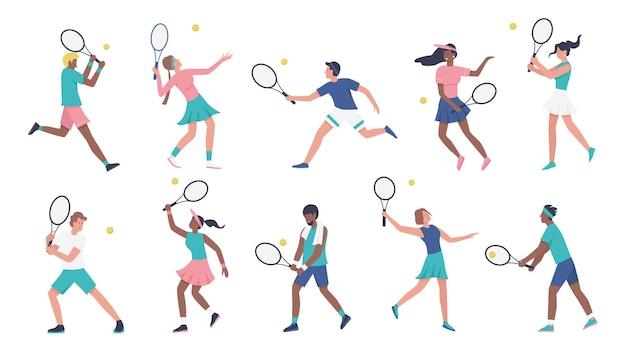 Trening gry w tenisa wektor zestaw ilustracji. kreskówka młoda kobieta mężczyzna sportowe postacie w mundurze sportowca grać w tenisa, gracze trzymając rakiety i uderzając kolekcję piłek na białym tle