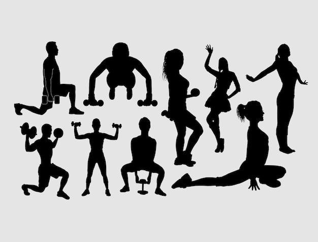 Trening i ćwiczenia sportowe sylwetka płci męskiej i żeńskiej