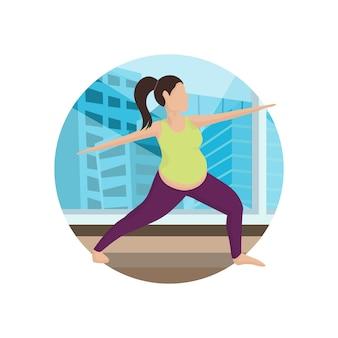 Trening jogi w kreskówce siłowni