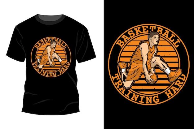 Trening koszykówki twardy t-shirt makieta projekt vintage retro