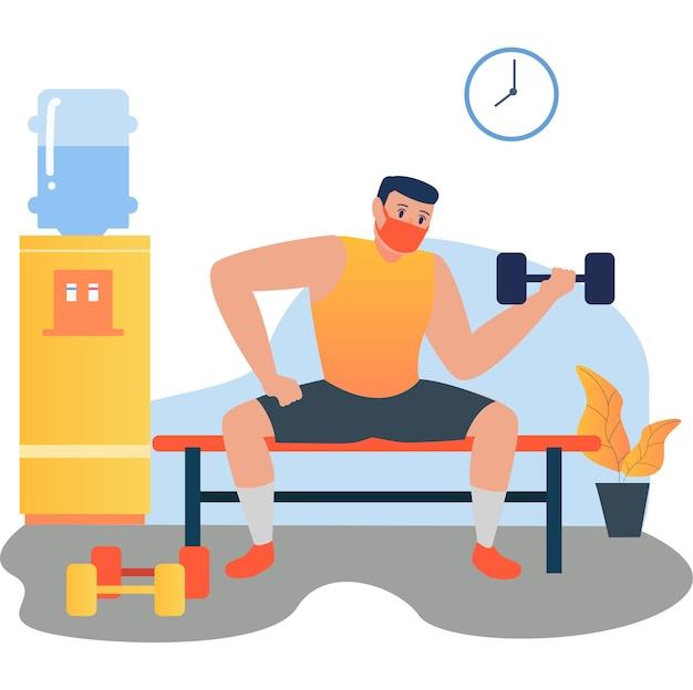 Trening mężczyzny w masce z wykorzystaniem hantli do budowania mięśni ramion