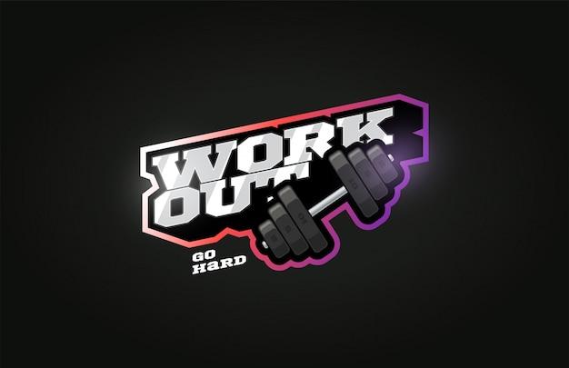 Trening na siłowni nowoczesne, profesjonalne logo sportowe w stylu retro