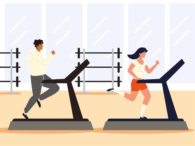 Trening par na siłowni fitness na bieżni
