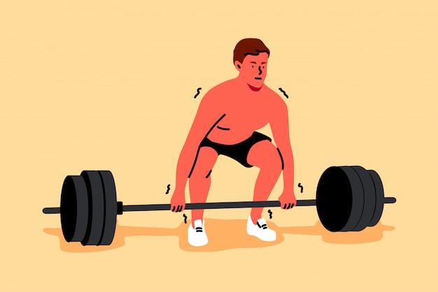 Trening, sport, podnoszenie, siła, fitness, koncepcja kulturystyki
