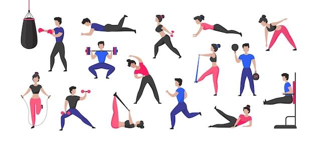 Trening sportowy. postacie z kreskówek płci męskiej i żeńskiej, ćwiczenia sportowe i zdrowe zajęcia