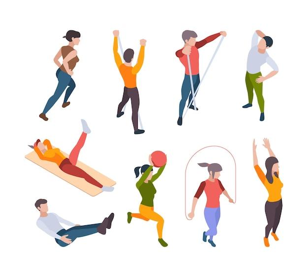 Trening w domu. aktywni ludzie wykonujący samodzielnie ćwiczenia sportowe w internecie nadawanie zajęć fitness i jogi wektor izometryczny. ćwiczenia treningowe z ilustracji, treningi ludzi