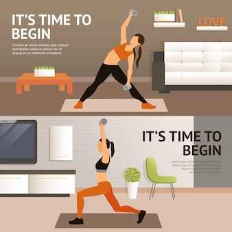 Trening w domu kobiety