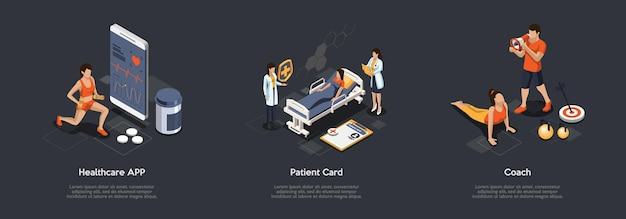 Treningi sportowe, śledzenie sprawności, koncepcja opieki zdrowotnej. zestaw zdjęć przedstawiających korzystanie z aplikacji opieki zdrowotnej, rejestrację karty pacjenta i ćwiczenia z trenerem fitness.