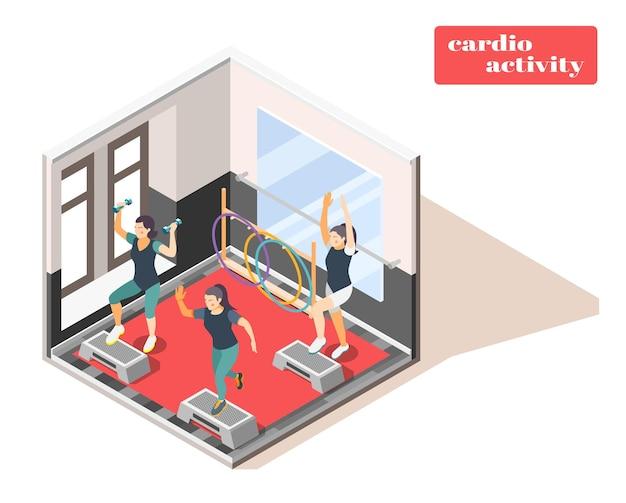 Treningowa kompozycja izometryczna wnętrza centrum fitness z aktywnością cardio i obciążnikami rąk w pomieszczeniach