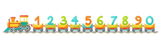 Trenuj dzieci w stylu kreskówki. tylko liczby. numery wektorowe dla edukacji matematycznej dzieci w szkole, przedszkolu i przedszkolu.