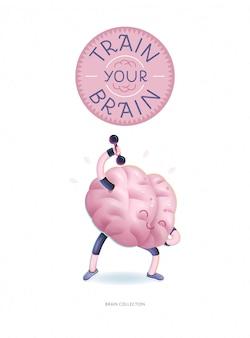 Trenuj plakat mózgu z napisem