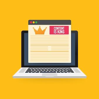 Treść jest królem, koncepcja marketingowa na ekranie laptopa.