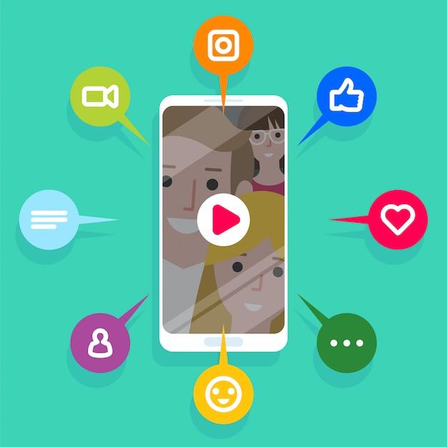 Treści wirusowe, polubienia, udostępnienia i komentarze wyskakujące na ekranie telefonu komórkowego