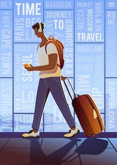 Treveller na lotnisku. dookoła świata. nowoczesny plakat. zachód słońca.