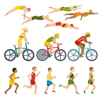 Triathlon, pływanie, bieganie i triathlon na rowerze. sport fitness w pływaniu, bieganiu i triathlonie.