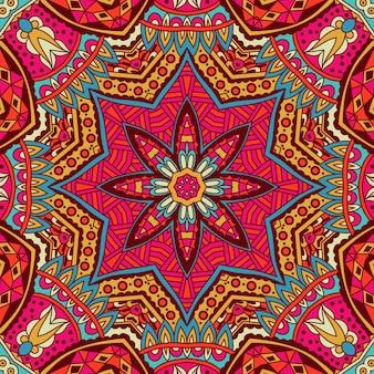 Tribal art bohemia bezszwowy wzór etniczny geometryczny nadruk