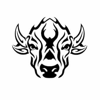 Tribal bull head logo tattoo design wzornik ilustracji wektorowych