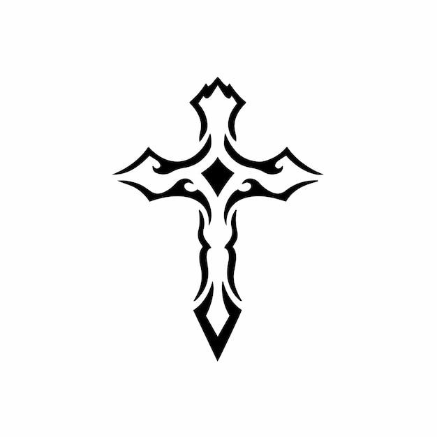 Tribal christian cross logo tattoo design wzornik ilustracji wektorowych