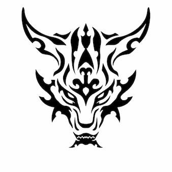 Tribal dragon head logo tattoo design wzornik ilustracji wektorowych