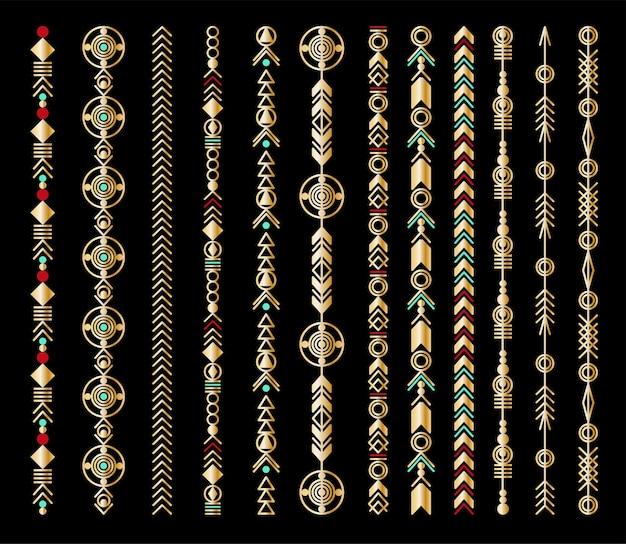 Tribal geometryczny wzór złota. ozdoba jubilerska boho. projekt wektor naklejki, tatuaż, noteboot, torba, t-shirt.