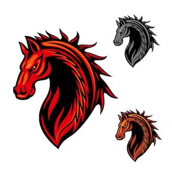 Tribal horse head clipart z jaskrawoczerwonymi, zawijanymi ornamentami płomieni ognia