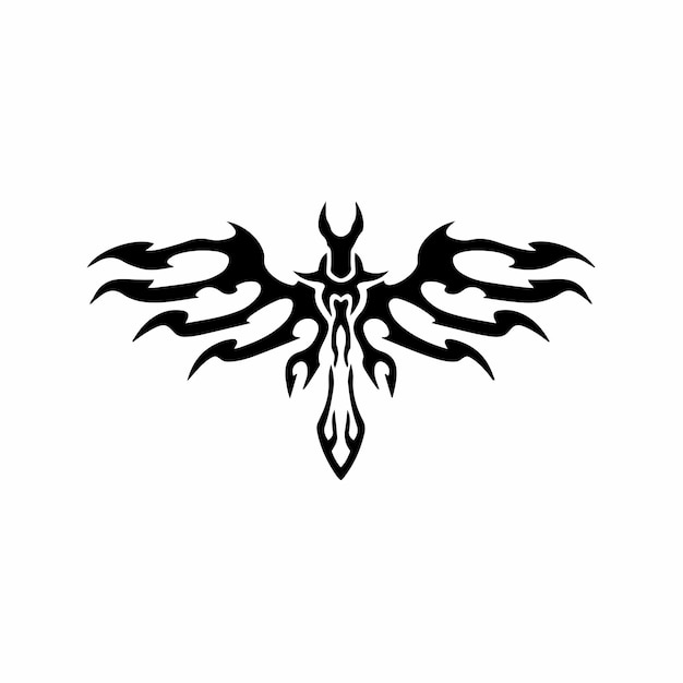 Tribal miecz z wings logo tattoo design wzornik ilustracji wektorowych