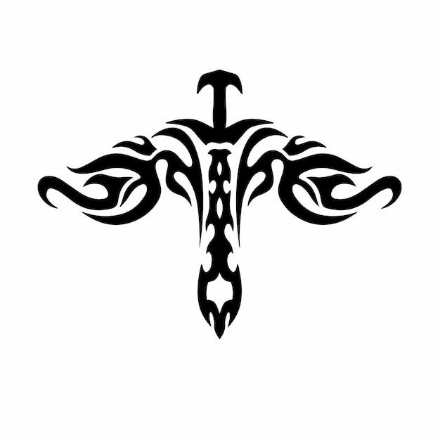 Tribal miecz z wings logo tatuaż szablon projektu ilustracji wektorowych