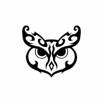 Tribal owl logo tattoo design wzornik ilustracji wektorowych