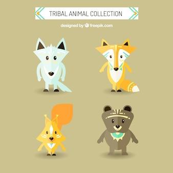 Tribal piękne zwierzęta ustawione w płaskiej konstrukcji