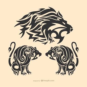 Tribal tatuaż lew