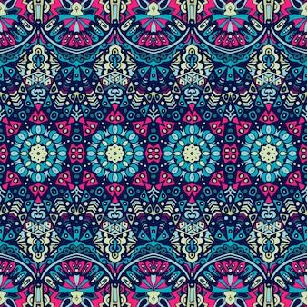 Tribal vintage streszczenie kwiatowy geometryczny wzór bezszwowe etniczne ozdobne