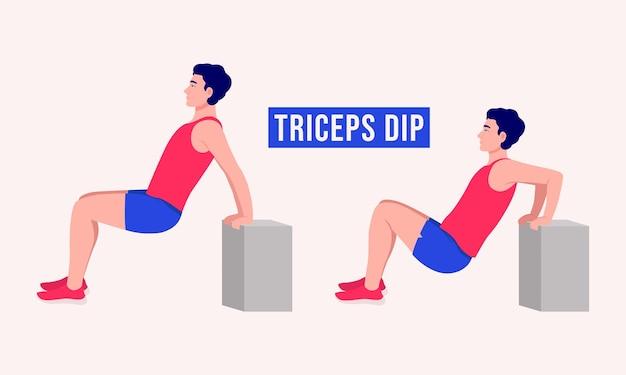 Triceps dip ćwiczenia kobieta trening fitness aerobik i ćwiczenia